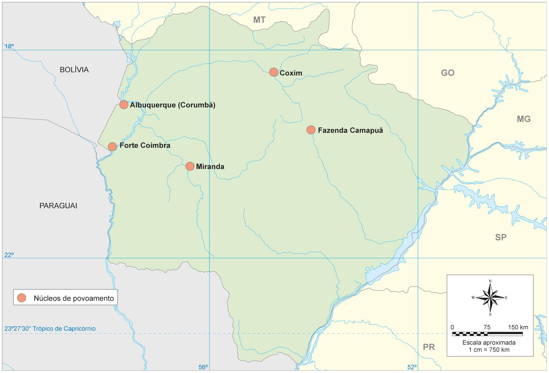 Principais núcleos de povoamento criados no século XVIII