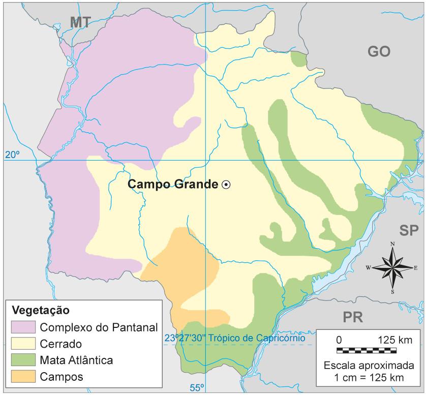 Os biomas no estado do Mato Grosso do Sul - Mapa