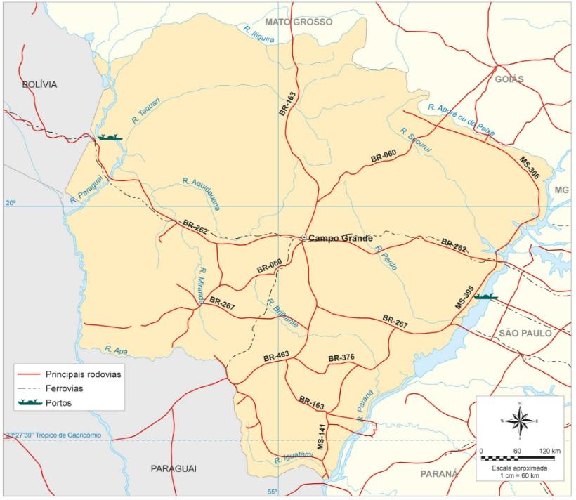 Principais rodovias do estado do Mato Grosso do Sul