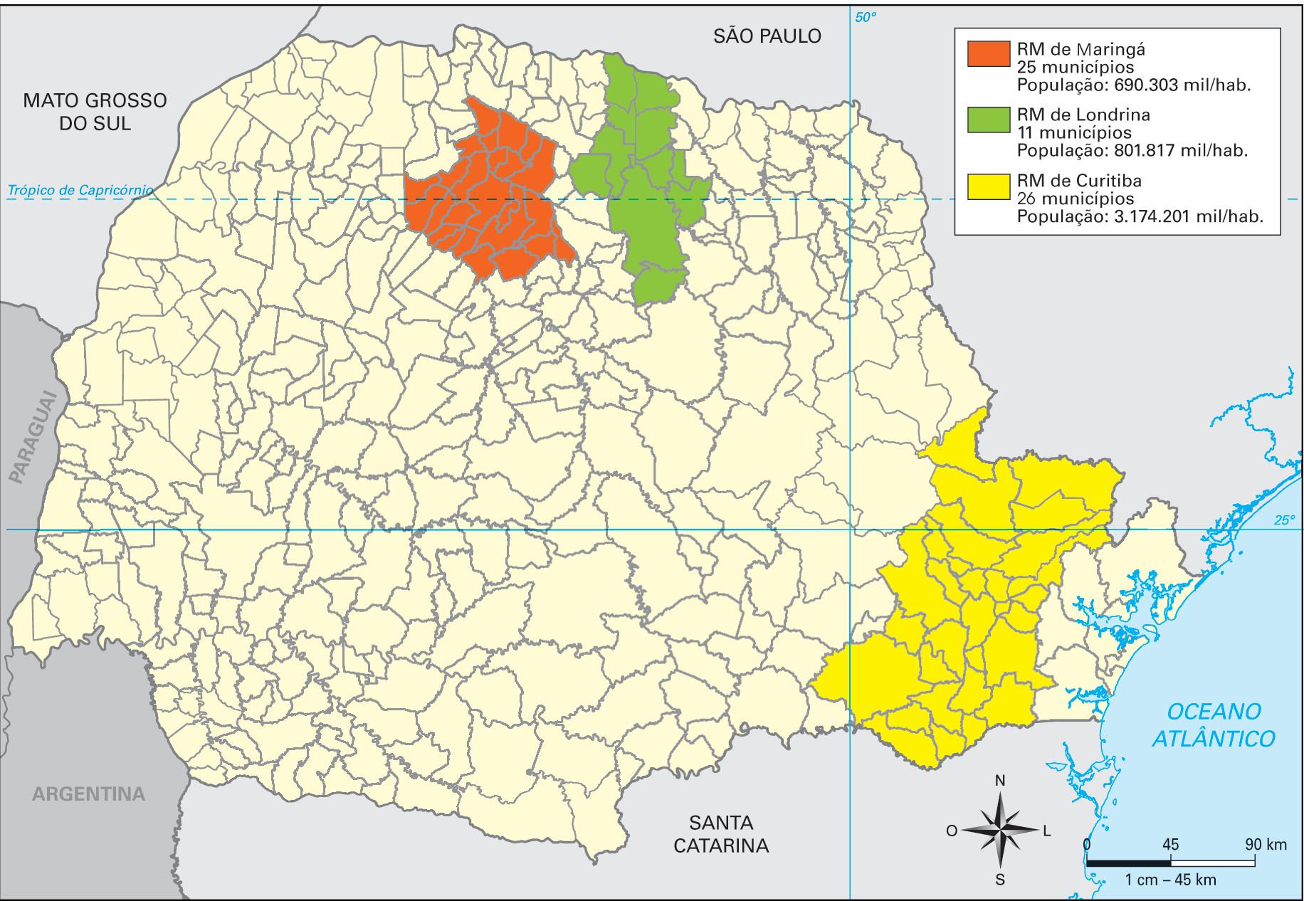 As três regiões metropolitanas mais urbanizadas do Paraná