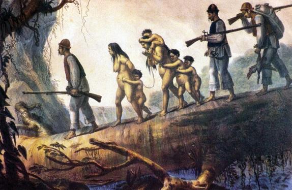 DEBRET, Jean-Baptiste. Soldados e índios de Curitiba levando selvagens presos. 1834