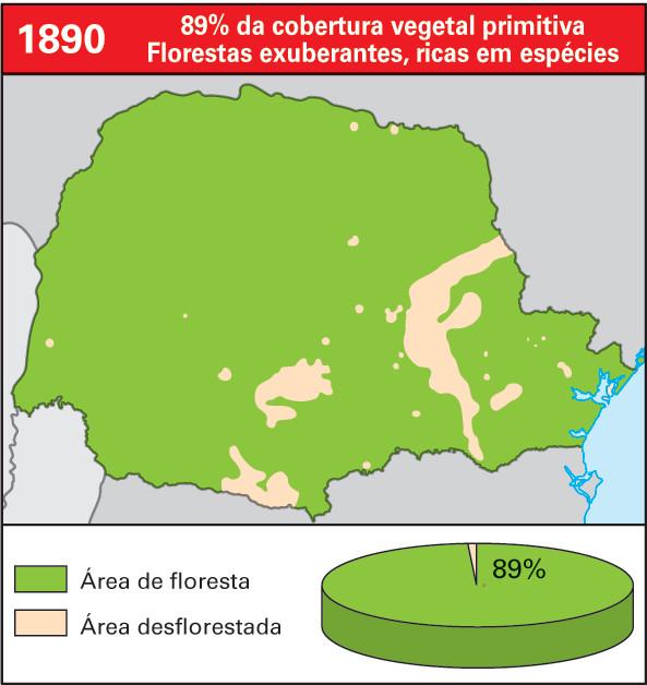 Cobertura vegetal no Paraná em 1890 - 89% da cobertura vegetal primitiva - Florestas exuberantes, ricas em espécies.