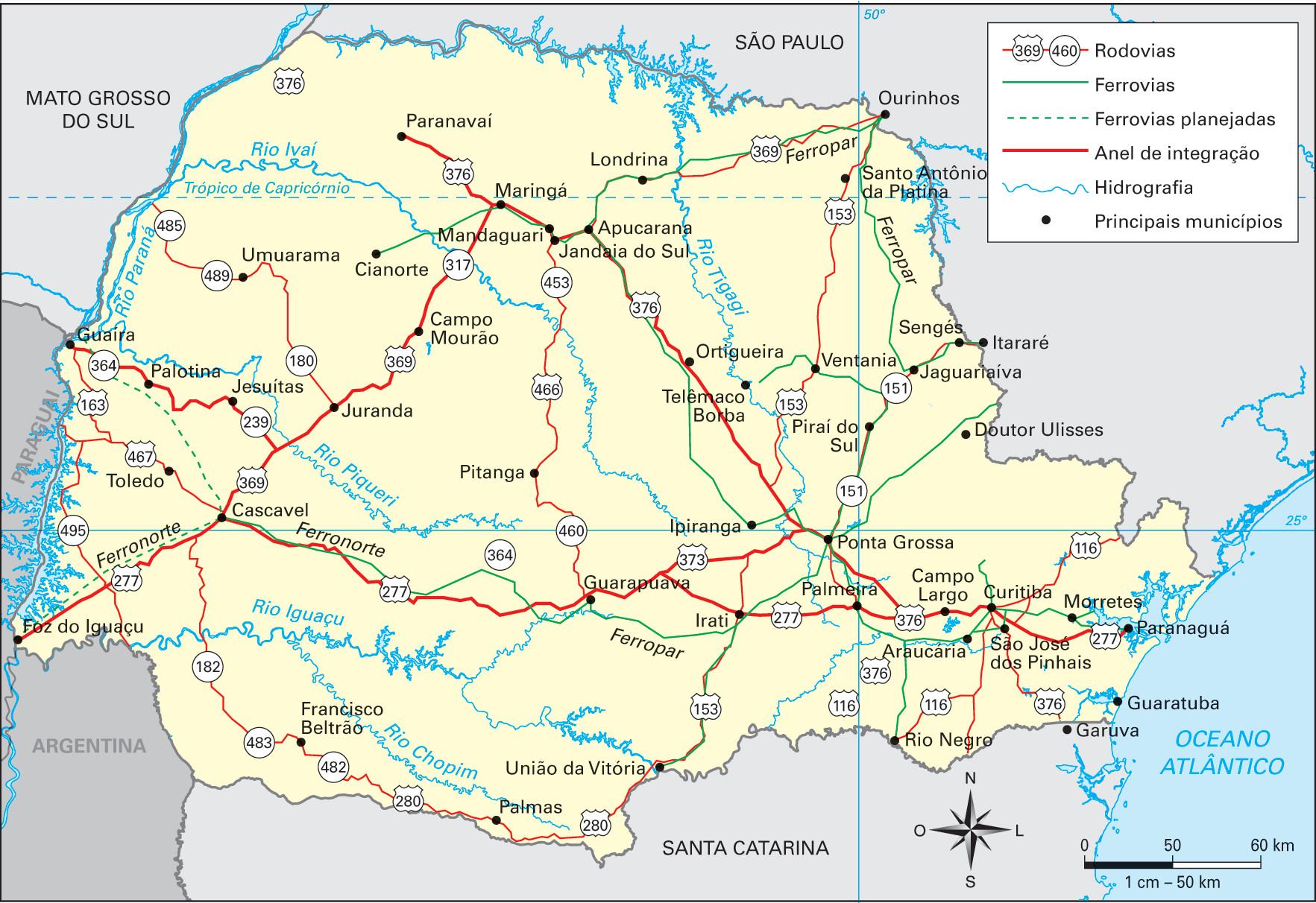 Mapa das principais rodovias, ferrovias e portos do Paraná