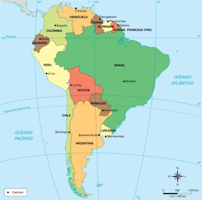 América do Sul - Mapa Geografico Político