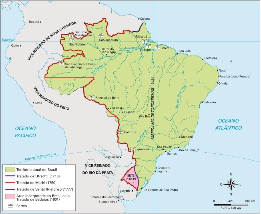 História dos tratados de limites que estabeleceram as fronteiras do Brasil