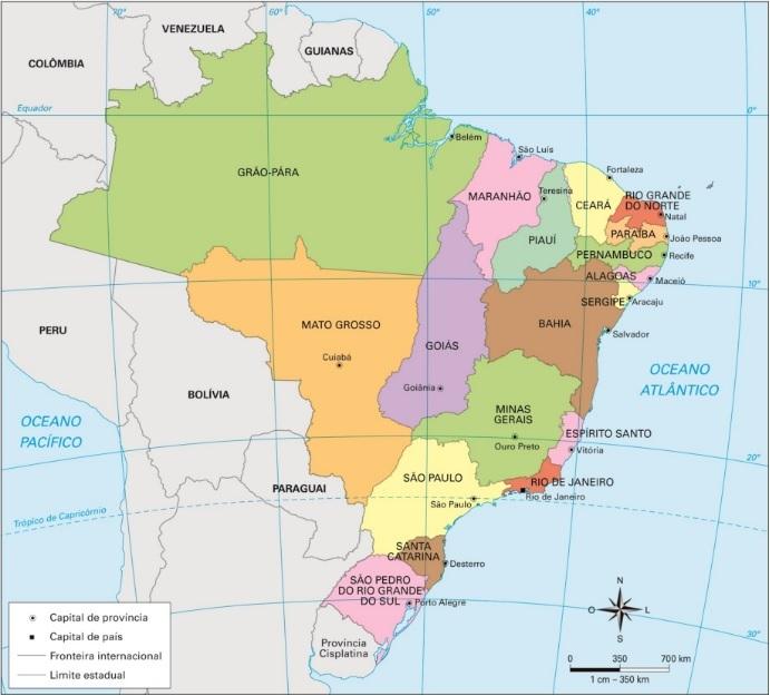 A divisão estadual após a independência do Brasil