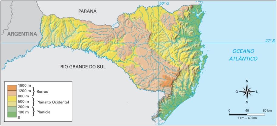 Mapa do relevo de Santa Catarina