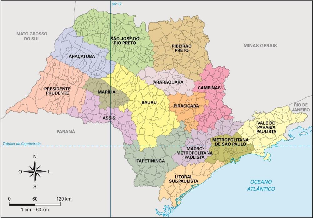 Mapa das Mesorregiões de São Paulo
