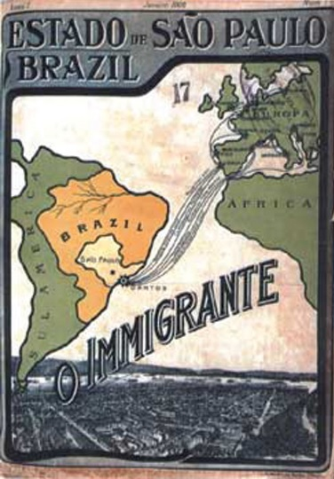 "Capa da revista ""O Imigrante"", 1908."