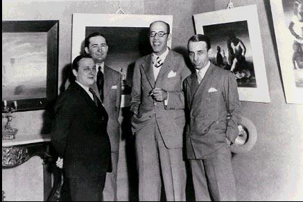 Da esquerda para a direita: Cândido Portinari, Antônio Bento, Mário de Andrade e Rodrigo Melo Franco. Palace Hotel, Rio de Janeiro, 1936.